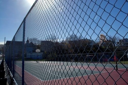 high basketball court chain link fencing